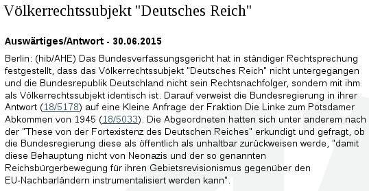 Bundestag Völkerrechtssubjekt Deutsches Reich