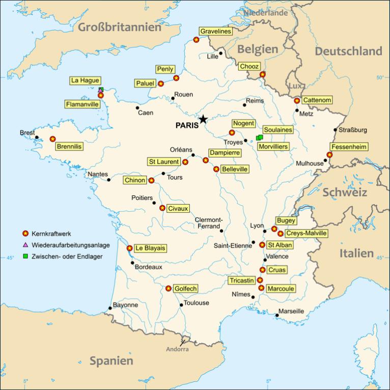Nuclear power map France