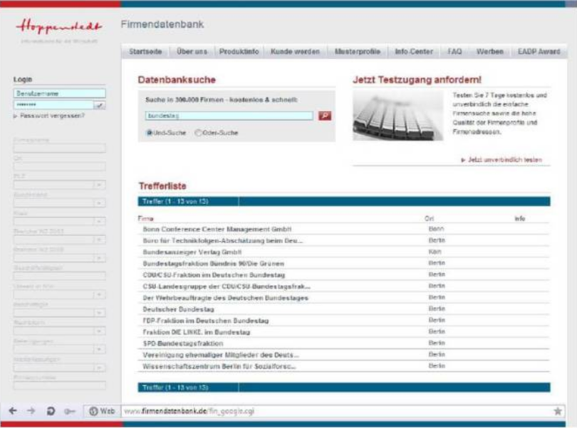 Firmenlisting Hoppenstedt