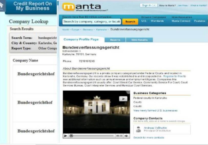 Firmenlisting Manta