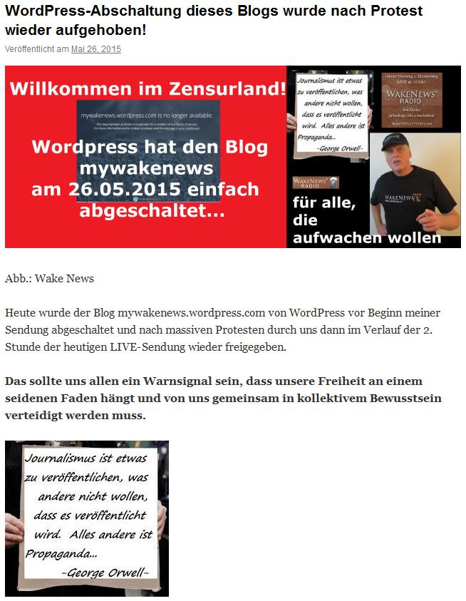 Wordpress schaltet Detlev ab
