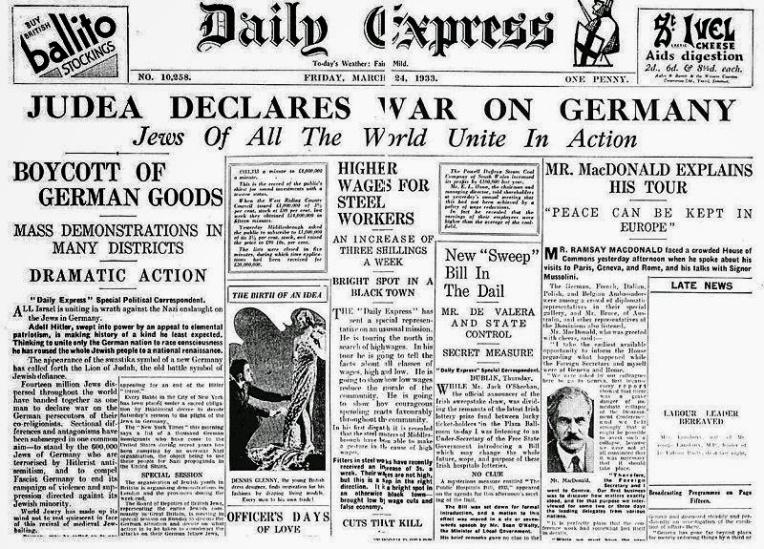 Kriegserklärung der Judenheit am 24.März 1933