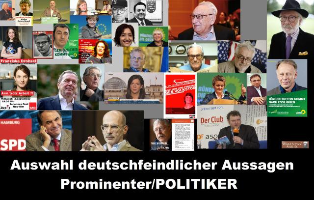 Auswahl an deutschfeindlichen Aussagen Prominenter und Politiker