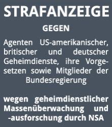 Strafanzeige NSA-Bundesregierung
