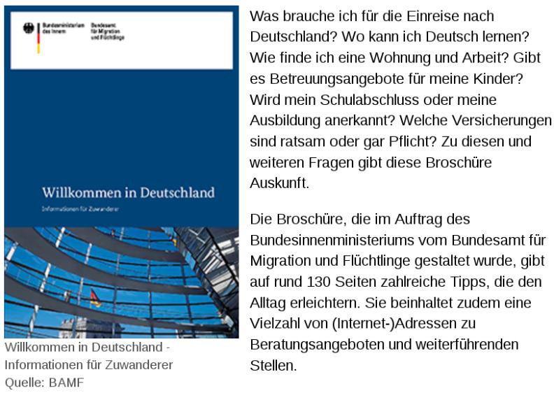 Werbebroschüre Willkommen in Deutschland