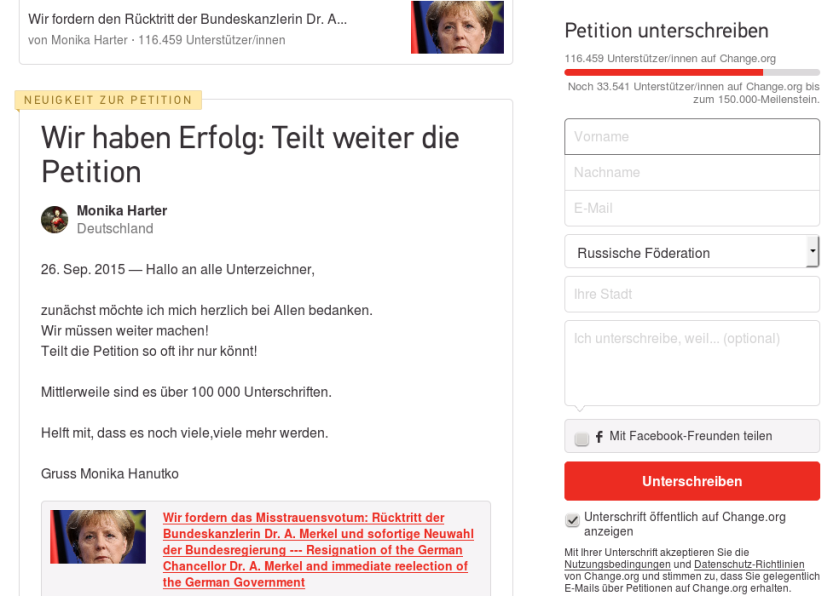 Wir haben Erfolg Teilt weiter die Petition Change.org