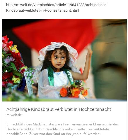Achtjährige verblutet nach Hochzeitsnacht