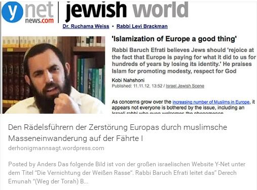 Die zionistischen Rädelsführer der muslimischen Flüchtlingswelle