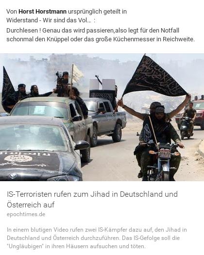 IS ISIS Terroristen rufen zum Jihad in Deutschland und Österreich auf