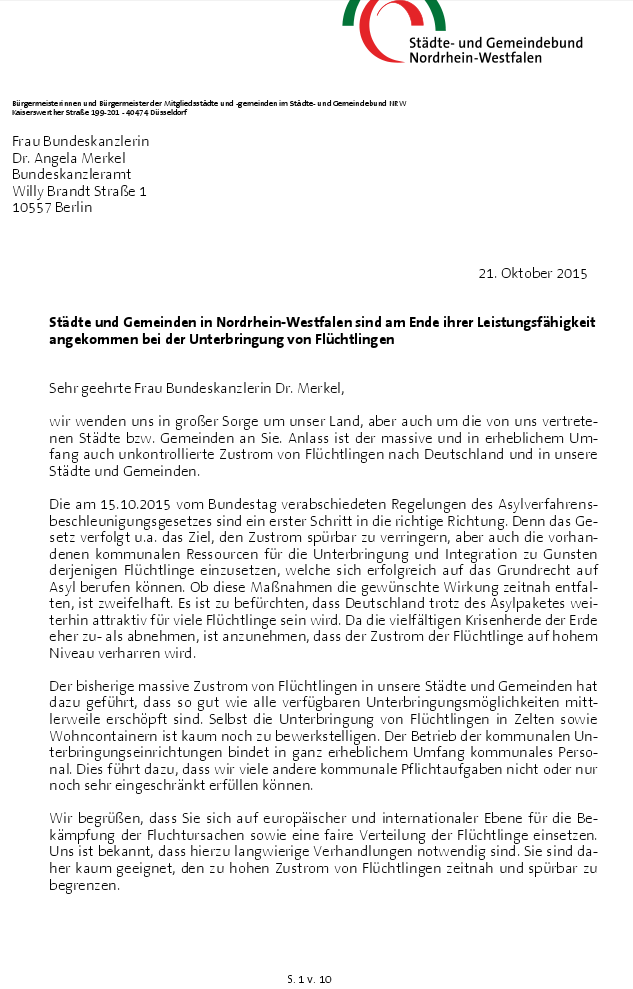 NRW Städte- und Gemeindebund Brief