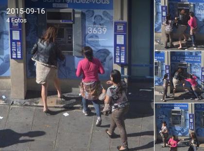 Refugees heben Geld vom Automaten ab