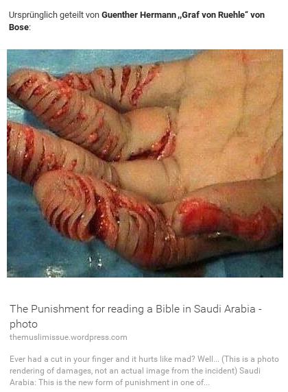 Strafe für Bibellesen in Saudi Arabia