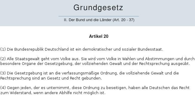 Widerstandsartikel Grundgesetz Artikel 20