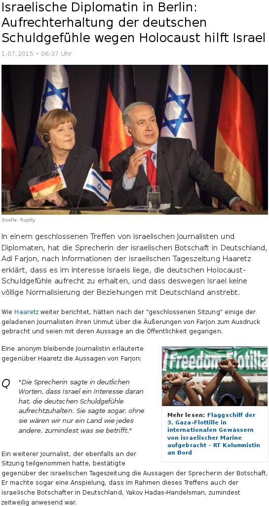Schuldgefühle wegen Holocaust hilft Israel
