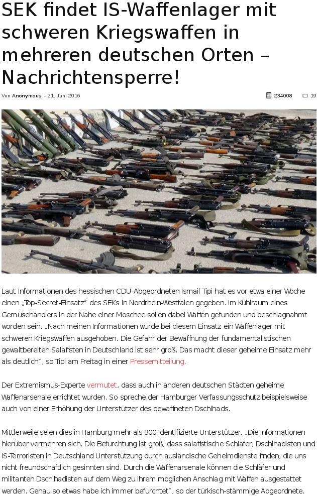 IS Waffenfund in Deutschland